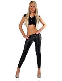 EloModa® Leggings Latex Look schwarz Lack Matt Hose Gr. 36 38 40 42 44 46