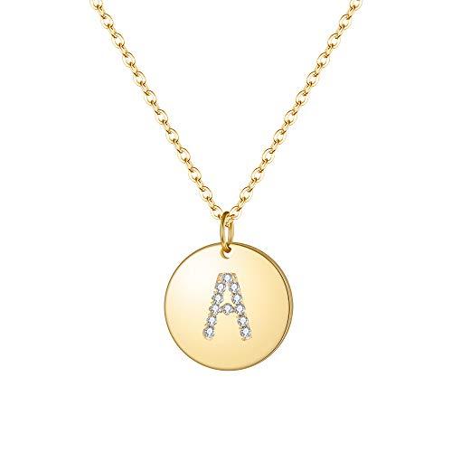 ette 925 Sterling Silber Zirkon Runde vergoldete Premium Buchstabe A Alphabet Münze Coin Anhänger Kette in 14 K Gold-Ton ()