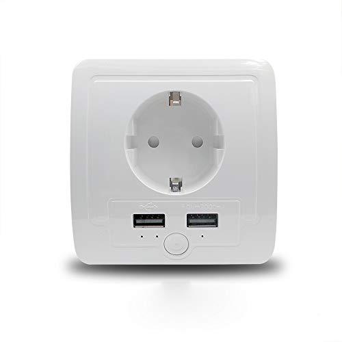 EU - Salida de pared para Amazon Alexa Google Home con 2 puertos USB de 15 A