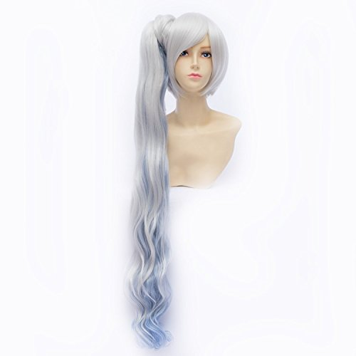 LanTing Cosplay Perücke RWBY White Trailer Weiss Schnee Blue Mix Lange Perücke Styled Frauen Cosplay Party Fashion Anime Human Costume Full wigs Synthetic Haar Heat Resistant Fiber