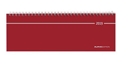 Tisch-Querkalender 1 Woche auf 2 Seiten rot 2019