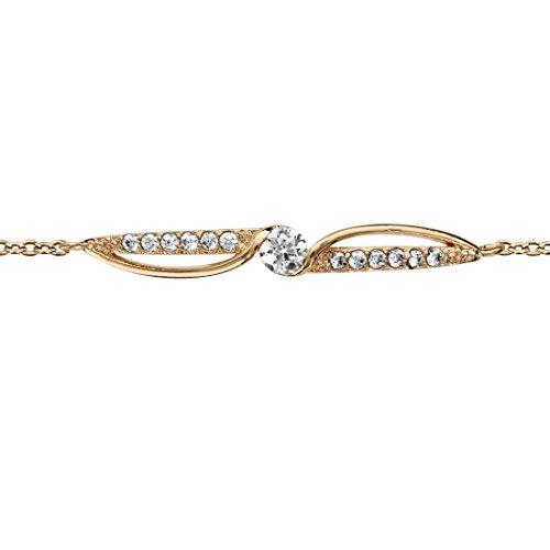 So chic gioielli© bracciale lunghezza regolabile: 16a 18cm ossido di zirconio bianco placcato oro 750