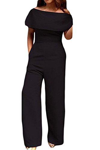 Nero da donna gamba larga off spalla tuta Clubwear abbigliamento taglia S UK 8-10EU 38-40