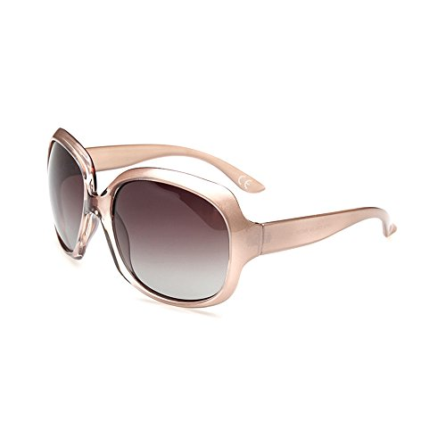 BVAGSS Mode Großer Rahmen Damen Polarisiert Sonnenbrille 100% UV-Schutz (Champagne Frame With Champagne Lens) (Jahre 70er Sonnenbrille)