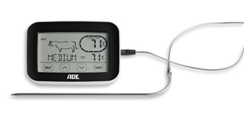 ADE BBQ 1408 Funk-Bratenthermometer. Digitales Grill-Thermometer mit Touch-Display, Funkempfänger, Messgabel aus Edelstahl. Elektronisches Ofenthermometer für den perfekten Garpunkt. Inkl. Batterien