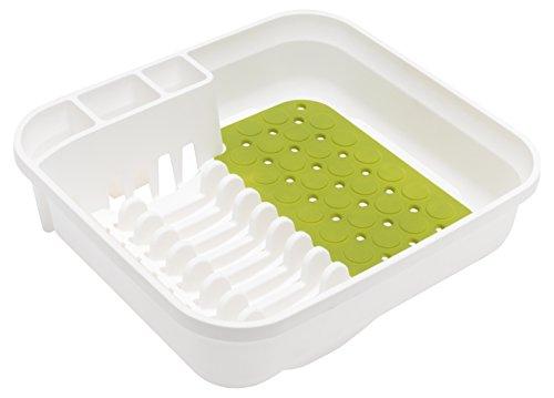 Addis Égouttoir à Vaisselle en Plastique de qualité supérieure, Plastique, Blanc/Vert, 38 x 41 x 11 cm