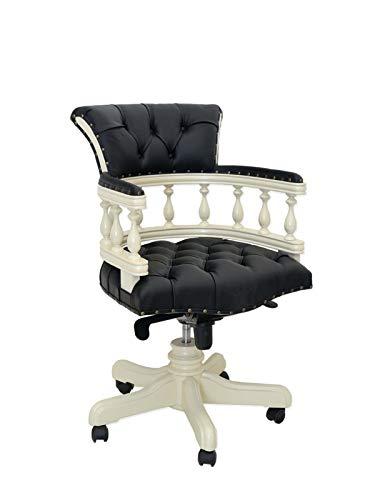 Antike Fundgrube Schreibtischsessel Bürostuhl Sessel Captain Chair cremeweiß schwarzes Leder(933)