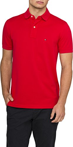 Tommy Hilfiger Herren Poloshirt, Gr. XXL, Rot (Apple Red 611) (Gestickt Apple)