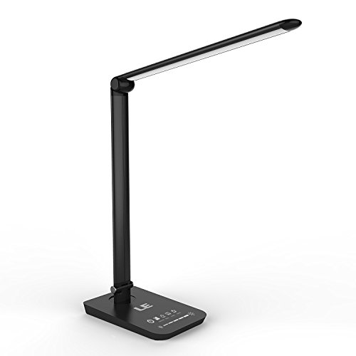 LE Dimmable LED Desk Lamp, 7-Level Brightness, 7 Colour Modes, Touch Sensitive Control, 8W Folding Table Lamps, Reading Lights, Bedroom Lamps