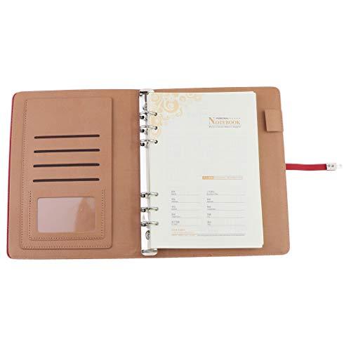 P Prettyia Nachfüllbar Notizbuch Tagebuch Clipbook mit Innentasche und Stift Loch, täglicher, wöchentlicher, monatlicher Kalender 23x17cm - Rot