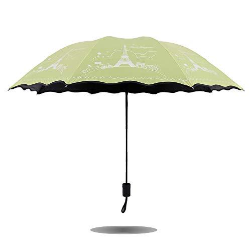 LYJZH Reiseregenschirm - Kompakter windfester Regenschirm - sehr leichtes und faltbares Design Sonnenschirm UV-Schutz Taschenschirm schwarz Plastikfarbe6 98cm