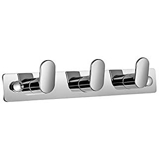 Aquatrend 8218-3 Bathroom Accessory Triple Robe Clothes Hanging Hook WALL HANGING Holder