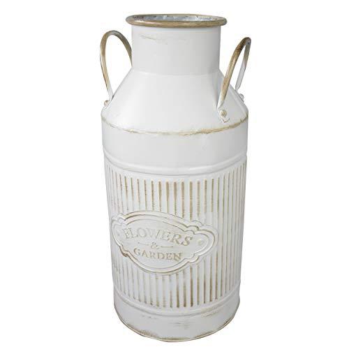 Hogar y mas paraguero originale vintage in metallo con patina bianca, fiori e giardino 47x14x22 cm
