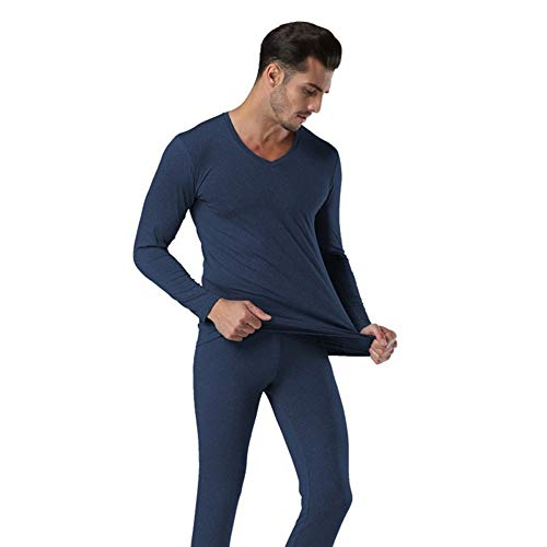 QZHE Thermo-Unterwäsche für Herren Winter V-Ausschnitt Warm Long Johns Set Für Männer Ultra-Soft Solid Color Dünne Thermo-Unterwäsche Anti-Mikrobielle Stretch, XXL - Antimikrobielle Unterwäsche