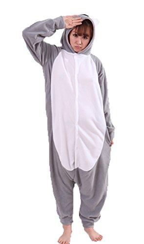 Honeystore Unisex Grau Koala Kostüm Erwachsene Tier Jumpsuits Onesie Pyjamas Nachthemd Nachtwäsche Cosplay Overall Hausanzug Fastnachtskostüm Karnevalskostüme Faschingskostüm Kapuzenkostüm XL (Erwachsene Feuerwehr Anzug)