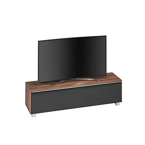 Pharao24 TV Board mit Klappe Eiche dunkel Schwarz Breite 160 cm