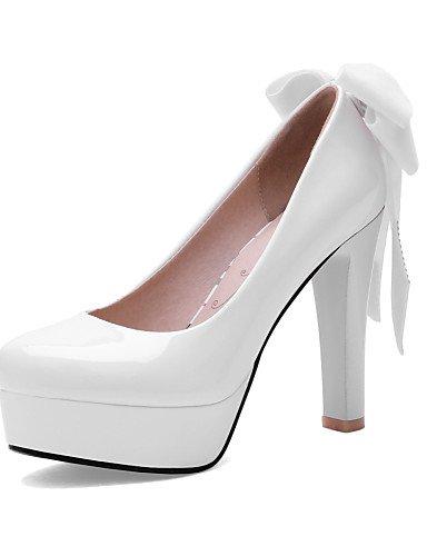 WSS 2016 Chaussures Femme-Bureau & Travail / Décontracté-Noir / Rouge / Blanc-Gros Talon-Talons / Bout Arrondi-Talons-Cuir Verni white-us7.5 / eu38 / uk5.5 / cn38