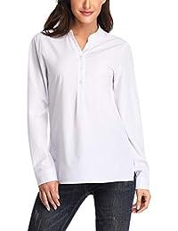 60c5b6269a53c Dilgul Camisetas Mujer Camisas Manga Larga Blusa Básica con Escote en V  Túnica