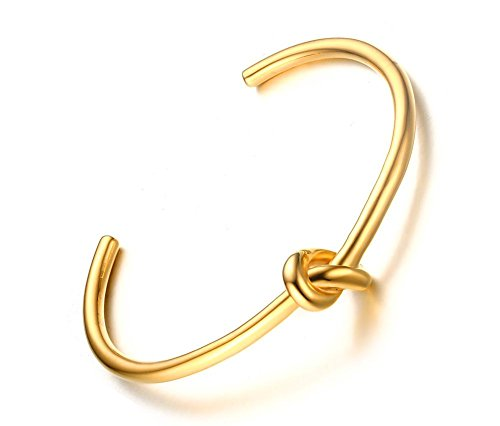 VNOX Frauen Edelstahl offene Manschetten Liebe Knoten Armband Gold für Hochzeits Verlobungs Geschenk