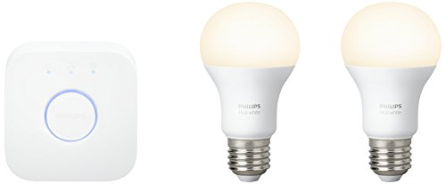 Philips Hue White E27 LED Lampe Starter Set, zwei Lampen inkl. Bridge, dimmbar, warmweißes Licht, steuerbar via App, kompatibel mit Amazon Alexa (Echo, Echo Dot)