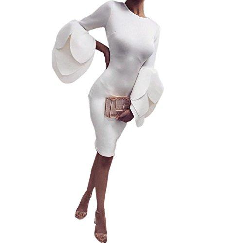 Fashion AbendKleid FORH Damen Vintage Bodycon Bleistiftrock Elegant Einfarbig Blütenblätter Ärmel Kleid Reizvolle Cocktailkleid Partykleid Clubwear Slim fit Knielangkleid (Weiß, S)