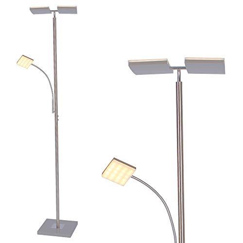 Deckenfluter LED modern mit Lesearm 196cm Höhe   Stehleuchte 2x11W Leselampe mit Flexarm stahlfarbig dimmbar   Stehlampe mit Touchdimmer   Fluter inkl. LED Board + Gratis Spannungsprüfer