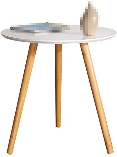 Mesa redonda de madera gruesa, jardín Balcón Mesa de descanso del ...