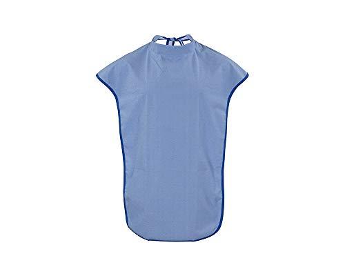 ActivePro ESS-Schürze Frottee/PU | Seniorenlätzchen zum Binden mit Schulterschutz | Essschürze für Erwachsene | abwaschbares Lätzchen | Kleiderschutz für Senioren (blau)