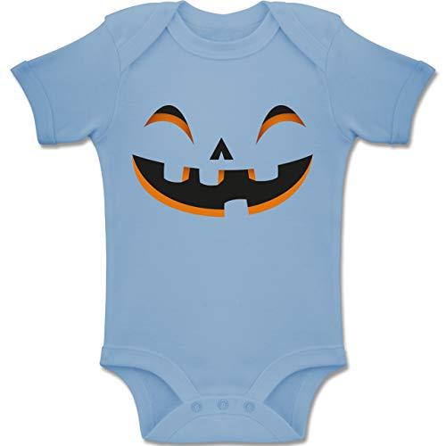 Shirtracer Karneval und Fasching Baby - Kürbisgesicht Kostüm - 6-12 Monate - Babyblau - BZ10 - Baby Body Kurzarm Jungen Mädchen