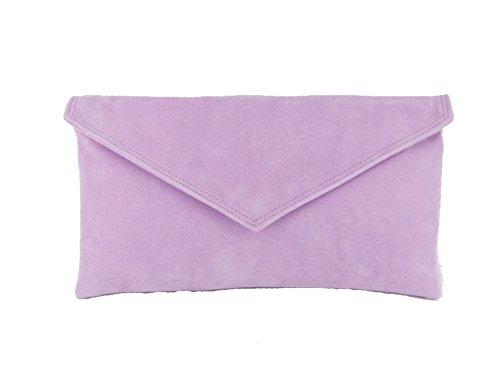 Loni Neat Umschlag Faux Wildleder Clutch Bag/Schultertasche in Elfenbein Lila