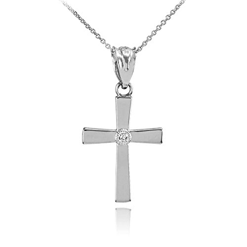 polished-10-ct-white-gold-diamond-cross-charm-pendant-necklace-comes-with-an-18-chain