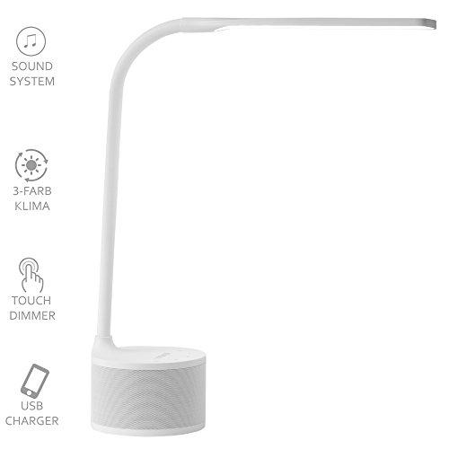 VASNER Lumbeat LED Schreibtischlampe USB weiss, 3,5 W dimmbar, Bluetooth Musik-Lautsprecher, Ladestation Handy, Touch-Bedienung, warmweiß, kaltweiß, neutral, Tageslicht