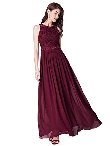Ever-pretty vestito da cerimonia donna girocollo linea ad a pizzo chiffon stile impero senza maniche borgogna 48