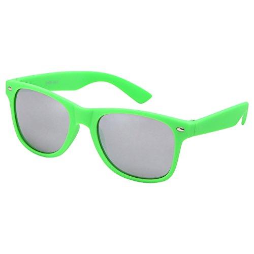 Ciffre Sonnenbrille Nerdbrille Nerd Retro Look Brille Pilotenbrille Vintage Look - ca. 80 verschiedene Modelle Neon Grün Matt Verspiegelt