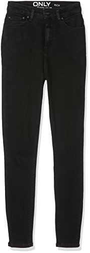 ONLY Damen Jeanshose Onlposh Hw Black Skcrop Dnm Jea Rea Noos Schwarz (Black)