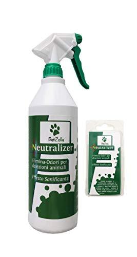 PetZolla Neutralizer- Elimina odori con Effetto sanificante (Spray con 1 bustina da 5gr. Inclusa + 1 Ricarica)