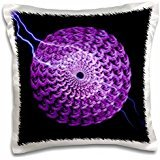 Garden Nature Florals Flowers Roses Wreath Fantasy Mandala Lightning Wedding - Purple rose wreath and lightning bolt on black background - 16x16 inch Pillow Case