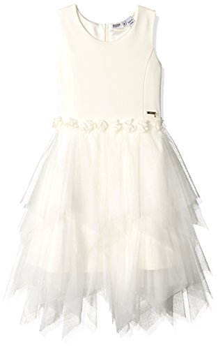Guess Girls' Big Sleeveless Fit N Flare Dress, Linen White, 14