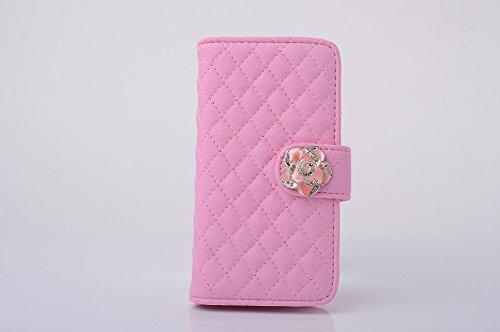 """inShang Hülle für Apple iPhone 6 iPhone 6S 4.7 inch iPhone6 iPhone6S 4.7"""", Cover Mit Modisch Klickschnalle + Errichten-in der Tasche + GRID PATTERN , Edles PU Leder Tasche Skins Etui Schutzhülle Ständ flower pink"""