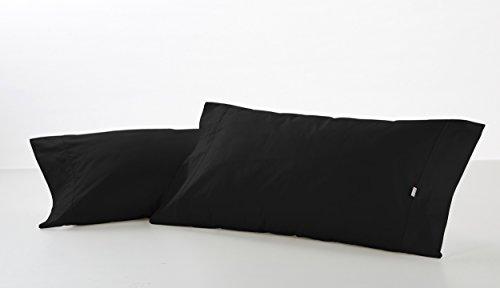 ESTELA - Funda de Almohada Combi Liso Color Negro - 2 Piezas de 45x85 cm - 50% Algodón-50% Poliéster...
