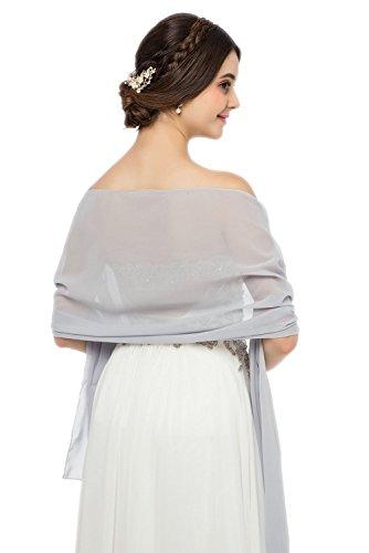 JAEDEN Stola Chiffon Schal für Brautkleid Abendkleider Ballkleider Hochzeitskleider in verschiedenen Farben 45cmx220cm Light Grey - Ballkleid Light