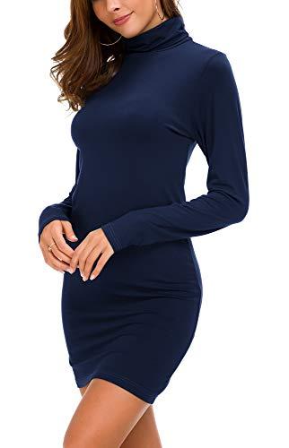 Urban Coco Damen Langarm Rollkragen, figurbetonte t-Shirt-Kleid klein Marine blau - Marine-blau-mock Hals