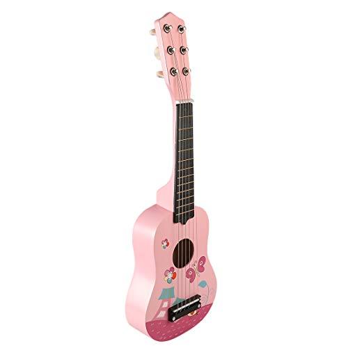 YAKOK 21 Zoll Holz Kinder Gitarre Spielzeug Mini Kindergitarre Spielzeuggitarre Musik Instrumente Spielzeug für Kinder 3-7 Jahre Mädchen und Jungen (Rosa)