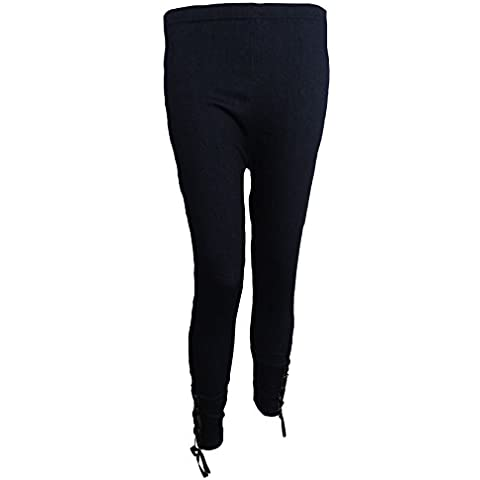Mujer Talle Alto Shoelace Negro Azul Marino Jeggings Leggings elástico Jeans Talla única