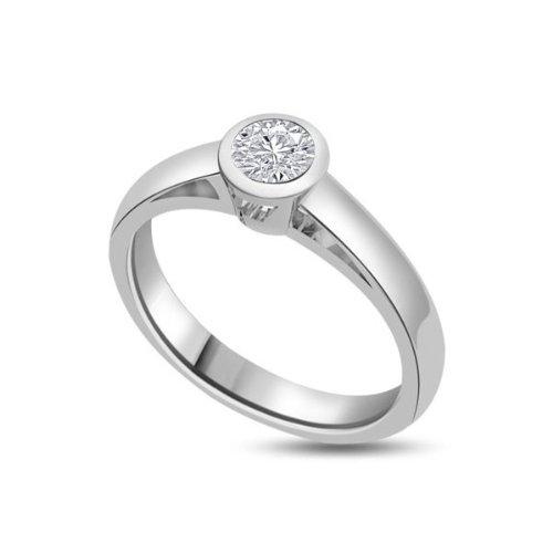 0,20 quilates G/VS1 Anillo solitario de compromiso de diamante para mujer con Redonda diamantes en 18k Oro blanco