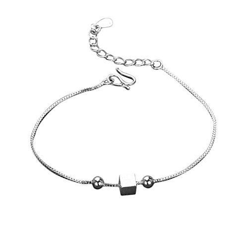 Hosaire Armband Kreativ Geometrische Würfel Anhänger Bracelet Bangle Silber-Weiße Armband Schmuck Zubehör