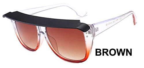 LKVNHP Zubehör Cover Design Elegante Schmale Übergroßen Herren Sonnenbrillen Frauen Vintage Marke Star Fashion Punk Sonnenbrille WeiblicheWTYJ075 braun