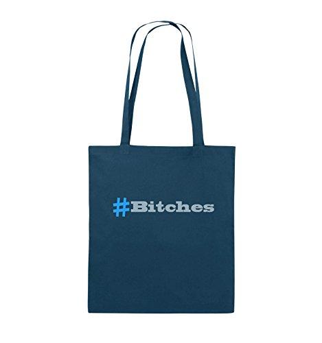Comedy Bags - # Bitches - Jutebeutel - lange Henkel - 38x42cm - Farbe: Schwarz / Weiss-Neongrün Navy / Eisblau-Hellblau