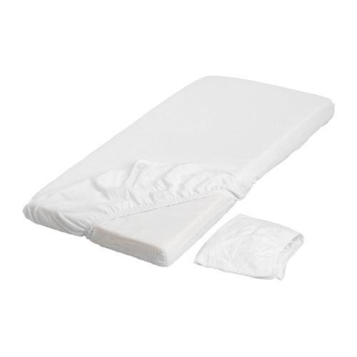 "IKEA 2-er Set Babybettlaken \""Len\"" Kinderbett Laken für Matratze in 120x60cm - WEISS - mit Gummiband - 100{7b15fb834eeb87bf05dee255bfe28b276088e506becca4e89c19be659ccd496c} BAUMWOLLE"