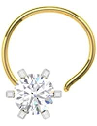 TBZ - The Original 18k (750) Yellow Gold and Diamond Solitaire Wire Nosepin